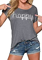 WANGSCANIS Fashion Women Scoop Neck T Shirt Long Sleeve Happy Printed Blouse Tops