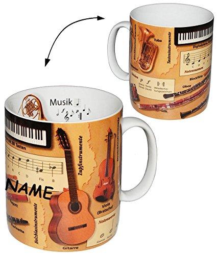 Henkeltasse -  Musik / Noten & Instrumente - Daten & Fakten  - incl. Name - groß - 460 ml - Porzellan / Keramik - Schule - Instrument Musiker - Uni - Hochsc..