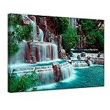 Kunstdruck - Wasserfall vor dem Wynn Hotel - Las Vegas - Bild auf Leinwand - 60 x 50 cm - Leinwandbilder - Bilder als Leinwanddruck - Landschaften - Amerika - USA - Kleiner Wasserlauf
