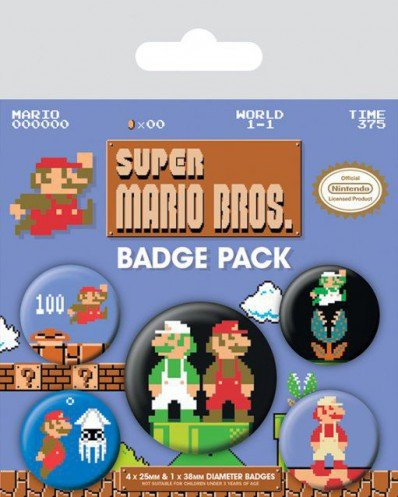 Super Mario - Bros., Retro 1 X 38mm & 4 X 25mm Badges Button Pack (15 x 10cm)