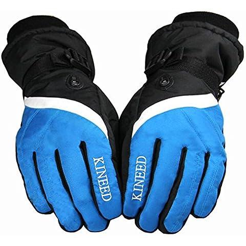 IKuaFly Guanti da Sci Impermeabile a Prova di Vento Gancio di Collegamento foro di sfiato - Invernali Moto Cotone Vello Neve Outdoor Gloves (blu)