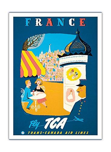 france-fly-tca-trans-canada-air-lines-vue-de-paris-airline-affiche-vintage-de-voyage-vintage-airline