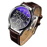 Yazole - reloj de pulsera blue-ray analógico de cuarzo y acero inoxidable unisex con dial blanco y correa marrón.
