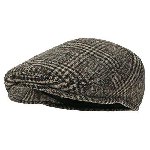 Howel's Glen Check Schottenmuster Wolle klassischer Stil irisch Schieber Cap Duckbill flach Golfermütze Hut, Beige/Black