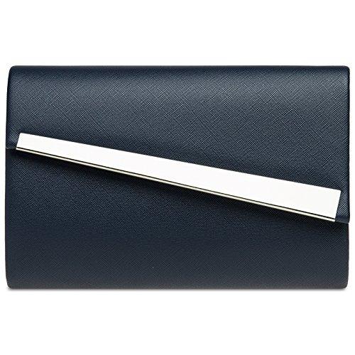 CASPAR TA418 Damen Metallic Baguette Clutch Tasche Abendtasche, Farbe:dunkelblau;Größe:One Size