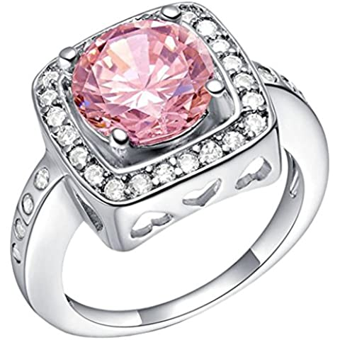 14 * 14 millimeter Tailloday milímetros de gran lujo de cristal de diamante simulado 925 anillo de plata de ley con circonitas y un corazón anillos de la vendimia de Color
