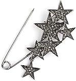 styleBREAKER Damen Schmucknadel mit Strass Sterne, für Ponchos, Tücher oder Schals, Sicherheitsnadel 05050072, Farbe:Silber/Schwarz