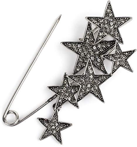 styleBREAKER Damen Schmucknadel mit Strass Sterne, für Ponchos, Tücher oder Schals, Sicherheitsnadel 05050072, Silber / Schwarz, Einheitsgröße