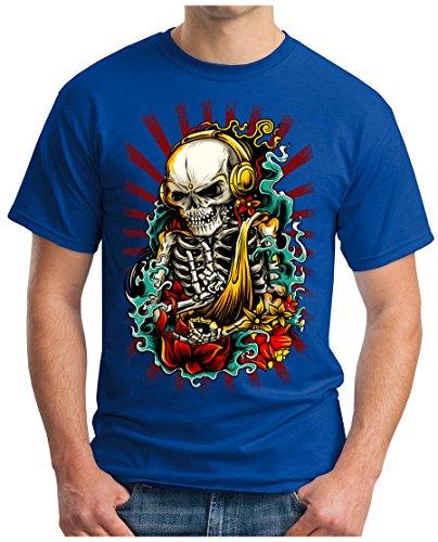 OM3 - ROCKABILLY-SKULL - T-Shirt GEEK, S - 5XL Royalblau