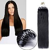 Extension Loops Naturels Micro Ring Extension Cheveux Naturels Pose à Froid Facile a Teindre ou Friser Cheveux Humains 45cm [0.5g * 100 Mèche ] [ Noir Foncé ]