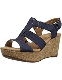 Clarks Womens Annadel Orchid Wedge Sandal Navy 9.5 M US