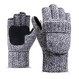 Affe Winter Damen Herren Schafwolle Gestrickte Handschuhe Fingerlose Fäustlinge mit Flip Top (Blassgrau)