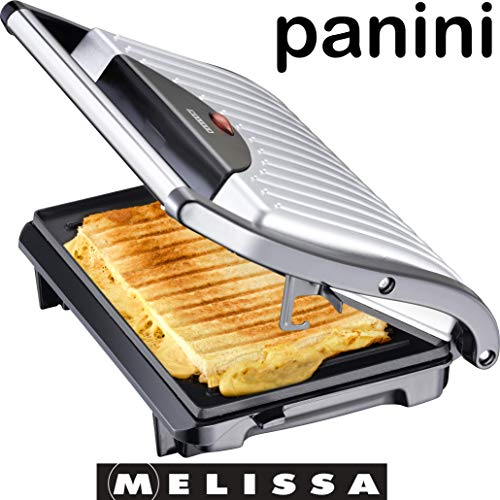 Melissa 16240053 Maker, Sandwich-& Kontaktgrill, 700 Watt, (Panini Grill),Farbe Silber schwarz