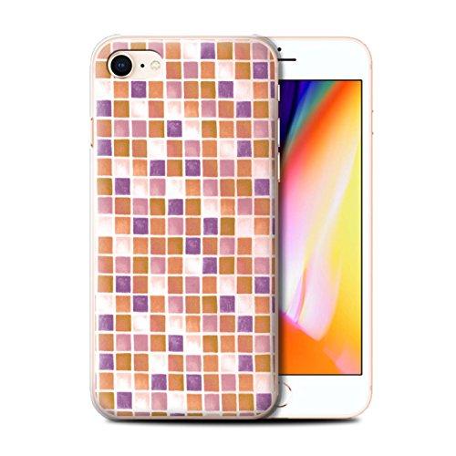 Stuff4 Hülle / Case für Apple iPhone 8 / Lila/Weiß Muster / Bad Fliesen Kollektion Lila/Orange