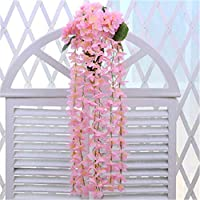 Maceta para colgar en la pared Hortensia Artificial Flor Vine Pared Wisteria Cesta Colgante Vine Boda Inicio Montado Jardín Balcón Pared Traling Decoración Floral Titular de maceta ( Color : Rosado )