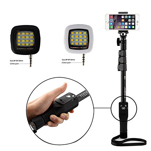 Shopizone® Yunteng YT 1228 Bluetooth Selfie Stick with *3 In 1 Mobile Camera Lens* and *Mini Selfie Flash Light* Combo For Apple and Android Smartphones