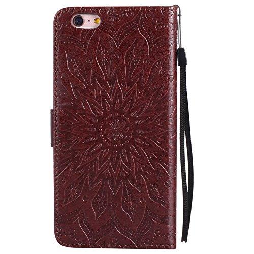 Custodia iPhone 6/6s,Gray Plaid Sun Goffrato Design Premium PU Pelle Protettiva Flip Portafoglio Cover Case per iPhone 6/6s - Oro rosa Marrone
