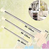 High Quality Extendable Curtain Rod Stainless Steel Adjustable Spring Tension Curtain Rod Pole Window Curtain Shower Curtain Rod (88 to160cm)