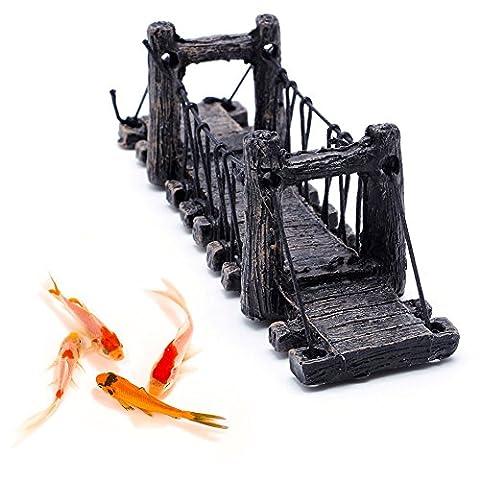 Dairyshop antique haute imitation Fish Tank Paysage pont Décoration d'aquarium Décorations, Résine, 6.3x2.17x1.57