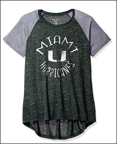 Blue 84 NCAA Miami Hurricanes Damen Gracie Confetetti Raglan-T-Shirt, Größe L, Wald -