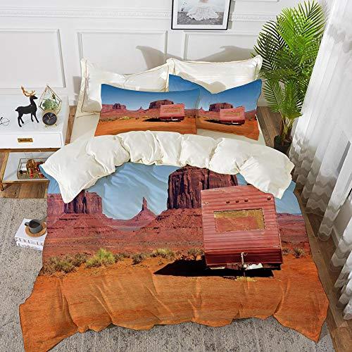 Bettwäsche-Set, Mikrofaser, Primitive Country Decor, verlassene Karawane Monument Valley Arizona Wüste trockenes Land dekorativ, Orange Pink Blau,1 Bettbezug 220 x 240cm + 2 Kopfkissenbezug 80x80cm