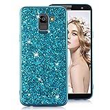 MOIKY Brillant Paillette Coque pour Samsung Galaxy J42018[avec Protection d'écran HD], Bleu, Samsung Galaxy J6 2018