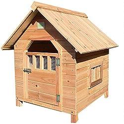 JTKDL Resistente a la Intemperie al Aire Libre del Gato del Perro casero Refugio casa condominio casa del Animal doméstico de la Perrera de Madera for Mascotas Natural casa de Perro de Madera al Aire