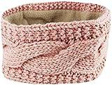 Mevina Damen Haarband elastisch Stirnband gestrickt Fleece-Futter Pailletten Zopf Strick Rosa A1292