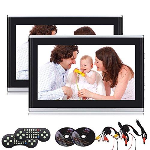 EINCAR Pair von 10,1 Zoll HD Digital 1080P Dual Screen Auto-Kopfst¨¹TZE DVD-Player Clip Built In Games HDMI/USB/SD-Anschluss IR-FM, Auto-Video-Player f¨¹r Kinder Car Entertainment Dual-hd-dvd