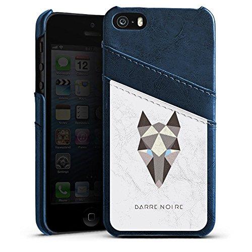 Apple iPhone 5s Housse Étui Protection Coque Renard Motif Motif Étui en cuir bleu marine