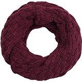 Compagno Winter-Schal Loop-Schal für Herren und Damen Strick-Schal Herren-Schal Damen-Schal, SCHAL Farbe:Weinrot