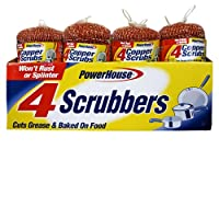 A USA Made Product PowerHouse® Copper Scrubs Cut Grease & Baked ON Food, 4 Count (10)