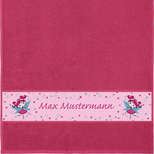 Manutextur Handtuch mit Namen - Motiv Kinder - Fee - viele Farben & Motive - personalisiert - Fuchsia - Größe 50x100 cm - persönliches Geschenk