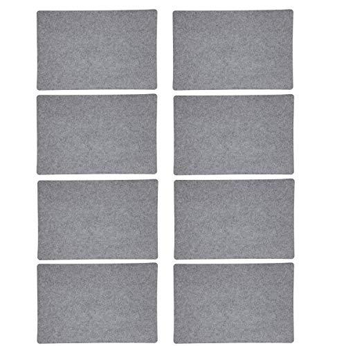 8-Teiliges Platzset Filz in Grau Waschbares Tischset Platzmatten Groß 30 x 45cm | Tischunterlage für 8 Personen (Grau, 8er Platzset) - Möbel Untersetzer Unternehmen