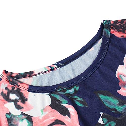 Lover-Beauty Kleider Damen Blumen Kleid Elegant Langarm Maxikleid Floral Print Böhmischen Strand Maxi Kleid Casual