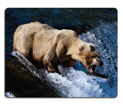 bear-fishing-fish-wildlife-animals-hunting-mouse-pads-customized-made-to-order-support-ready-9-7-8-i