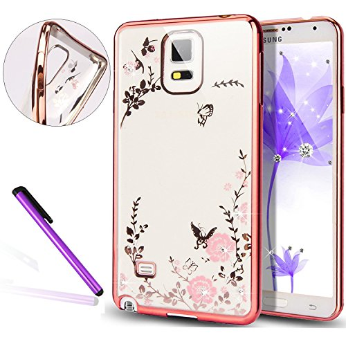 Samsung Galaxy S7 Edge Coque, EMAXELERS Galaxy S7 Edge Coque, Bling Strass Cristal Rose Or Transparente Mince Souple TPU Silicone Etui Housse de Coque, Yellow Flower Butterflies Design Glitter Bling É Rose Golden Pink Flower&Butterfly