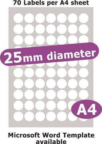 25mm diametro rotondo , 350 Etichette , Opaco Cartoncino Bianco , 5 A4 Fogli , Laser Copiatrice Getto d'inchiostro Adesivi