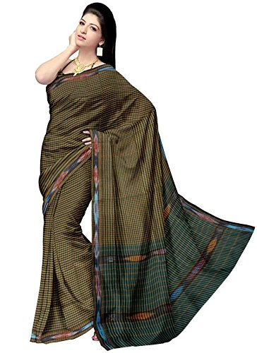 Yellow Striped Pochampally Ikat Cotton Saree