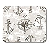 Gaming Mauspad Vector Pattern with Anchors and Compass Perfect for Textiles Wallpaper 11.8x 9.8 Decor Office Nonslip Rub