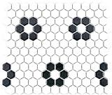 Mosaik Fliese Keramik Hexagon schwarz weiß matt für WAND BAD WC DUSCHE KÜCHE FLIESENSPIEGEL THEKENVERKLEIDUNG BADEWANNENVERKLEIDUNG WB11A-0103