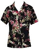 *La Leela* Pulsante Spiaggia Camicetta delle Donne Verso Il Basso Casuale Camicia Hawaiana Nero 2 m
