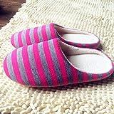 Qsy shoe Silent Home Pantoffeln gestreift Hilfe Paar Boden, Rose rot, 40-41