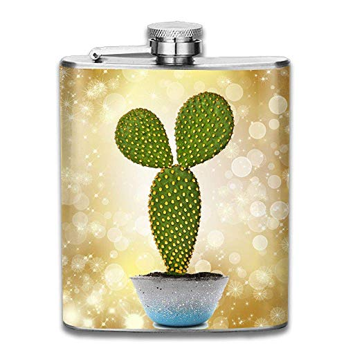 Hüftflaschen Presock, Cactus with Crystal Potted Plant Hip Flask for Liquor Stainless Steel Bottle Alcohol 7oz Best Birthday Gift Present for Women Men Crystal Travel Mug