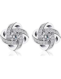 Moneekar Jewels AAA Quality Cubic Zirconia 925 Sterling Silver Plated Stud Earrings For Women Girls