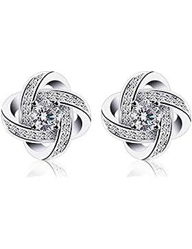URBANSTYLES - Knoten Ohrringe mit Zirkonia Kristallen - 925 Sterling Silber / 1 Paar Ohrstecker / Damen Schmuck...
