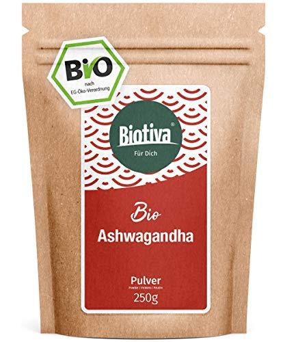 Ashwagandha Organic Powder (250g) - Ashwagandha Root Powder - Berry - Ayurveda - Ginseng indiano - Withania Somnifera - imbottigliato in Germania (DE-ÖKO-005) - vegan