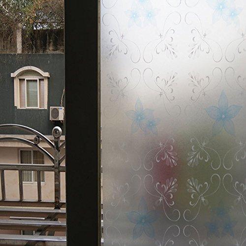 DODOING 45x200cm Fensterfolie Sichtschutzfolie Statisch Folie Selbstklebend,Blaue Blume Reben