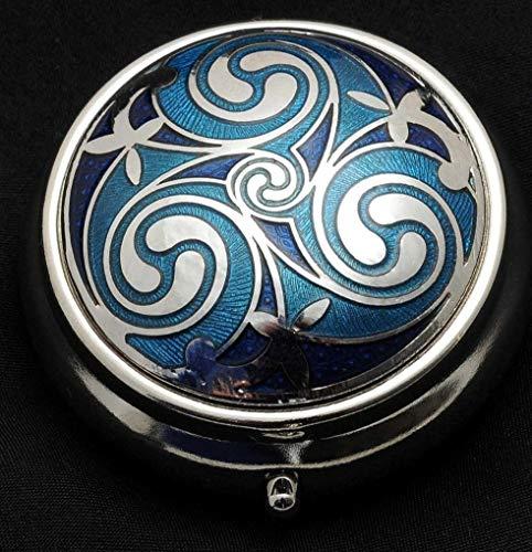 Pillendose mit keltischem Triskele-Motiv blau