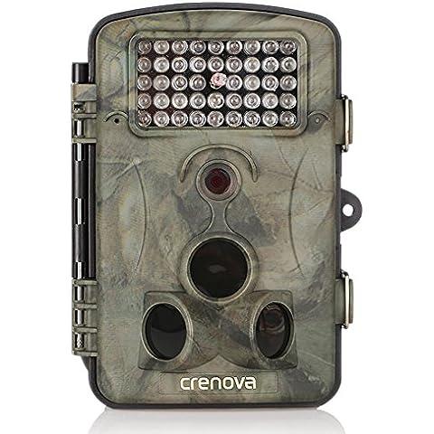 Crenova® Cámara de Caza 12MP 1080P HD Trail Cámara PIR Infrarrojo Sensor de Movimiento 20m Visión Nocturna 42 IR LEDs 120°Ángulo Amplio Cámara de Seguimiento Cámaras de